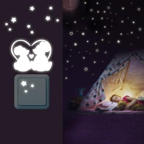 Leuchtaufkleber Sterne Abgerundet + Lichtschalter - Mäuschen Set