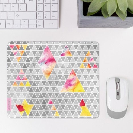 Mousepad Triangle Muster Pastell Grau