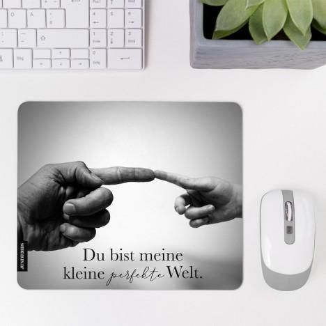 JUNIWORDS Mousepad Du bist meine kleine perfekte Welt