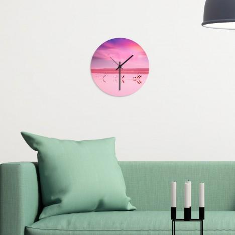 Wanduhr Flamingos
