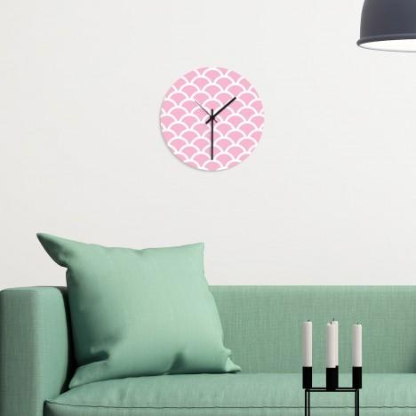 Wanduhr Schuppenmuster rosa