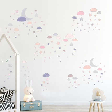 Wandsticker Set Mega - Mond und Sterne