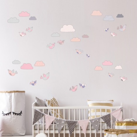 Wandsticker Set XL - Wolken und Vögel