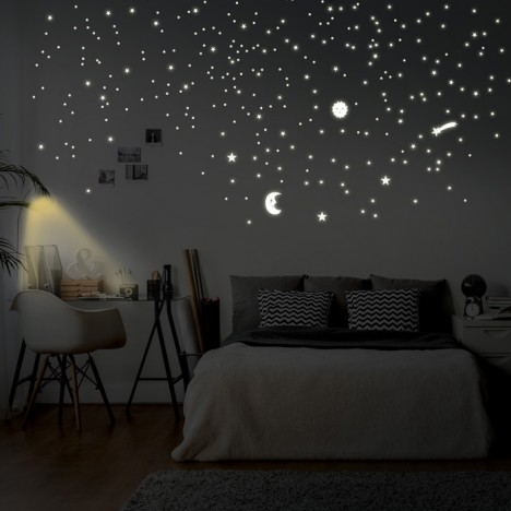 leuchtaufkleber sonne mond und sterne. Black Bedroom Furniture Sets. Home Design Ideas