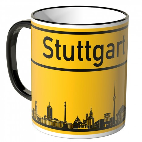 JUNIWORDS Tasse Ortsschild Skyline Stuttgart