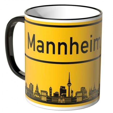 JUNIWORDS Tasse Ortsschild Skyline Mannheim