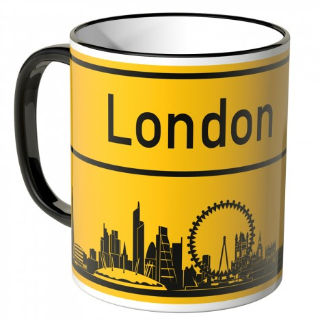 JUNIWORDS Tasse Ortsschild Skyline London