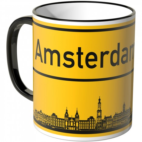 JUNIWORDS Tasse Ortsschild Skyline Amsterdam