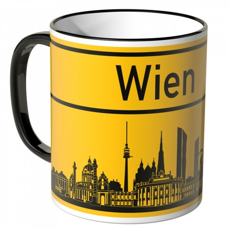 JUNIWORDS Tasse Ortsschild Skyline Wien
