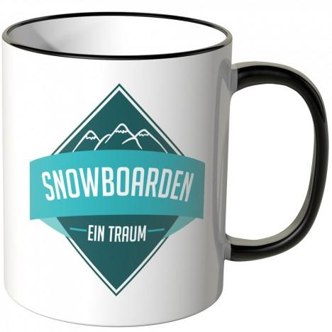 JUNIWORDS Tasse Snowboarden - ein Traum