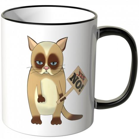 JUNIWORDS Tasse mürrische Katze mit Schild