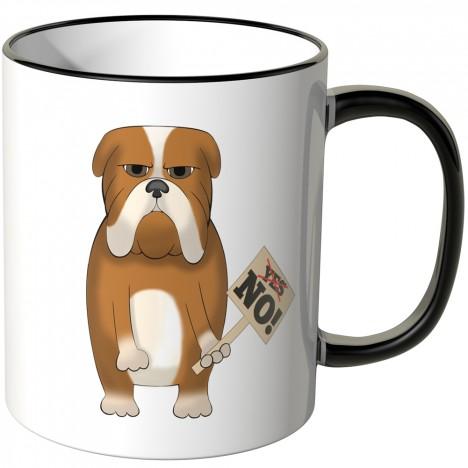JUNIWORDS Tasse mürrischer Hund mit Schild