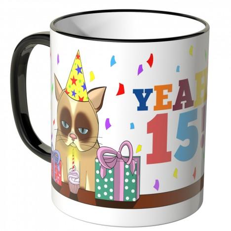JUNIWORDS Tasse YEAH 15! mit mürrischer Katze