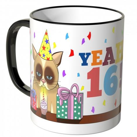 JUNIWORDS Tasse YEAH 16! mit mürrischer Katze
