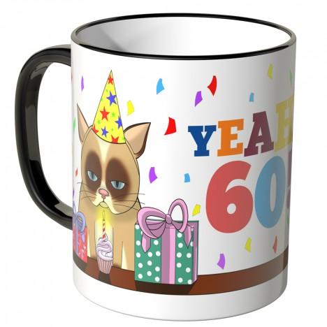 JUNIWORDS Tasse YEAH 60! mit mürrischer Katze