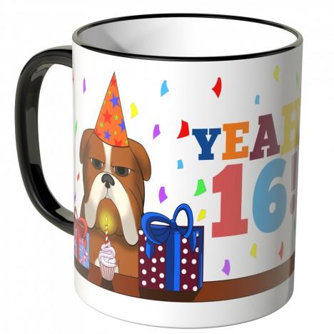 JUNIWORDS Tasse YEAH 16! mit mürrischer Hund