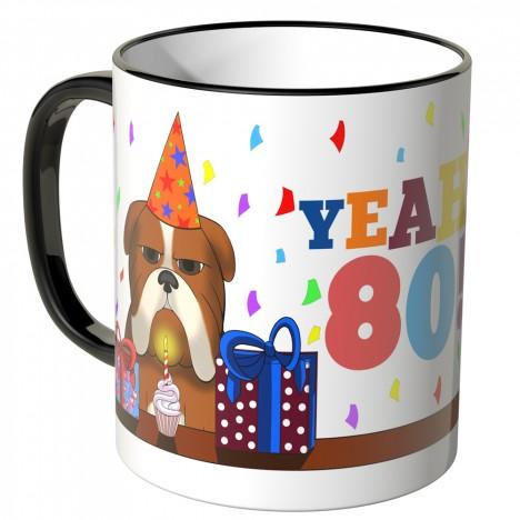 JUNIWORDS Tasse YEAH 80! mit mürrischer Hund