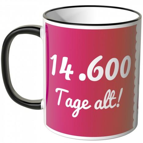 JUNIWORDS Tasse 14.600 Tage alt! (40 Jahre) - pink
