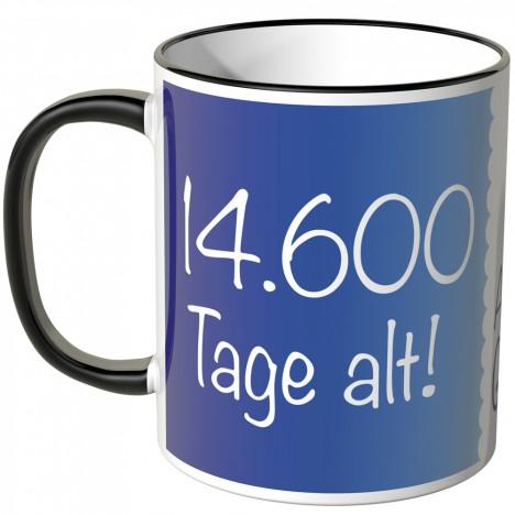 JUNIWORDS Tasse 14.600 Tage alt! (40 Jahre) - blau