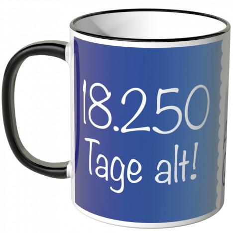 JUNIWORDS Tasse 18.250 Tage alt! (50 Jahre) - blau