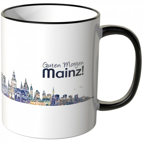 """JUNIWORDS Tasse """"Guten Morgen Mainz!"""" Skyline bei Nacht"""
