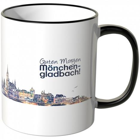 """JUNIWORDS Tasse """"Guten Morgen Mönchengladbach!"""" Skyline bei Nacht"""