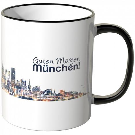 """JUNIWORDS Tasse """"Guten Morgen München!"""" Skyline bei Nacht"""