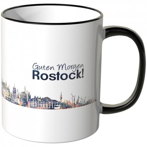 """JUNIWORDS Tasse """"Guten Morgen Rostock!"""" Skyline bei Nacht"""