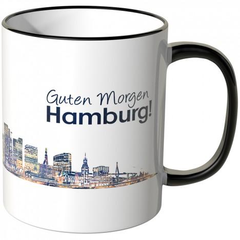"""JUNIWORDS Tasse """"Guten Morgen Hamburg!"""" Skyline bei Nacht"""
