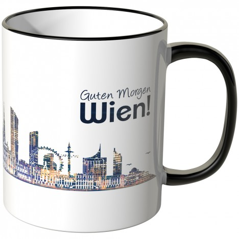 """JUNIWORDS Tasse """"Guten Morgen Wien!"""" Skyline bei Nacht"""