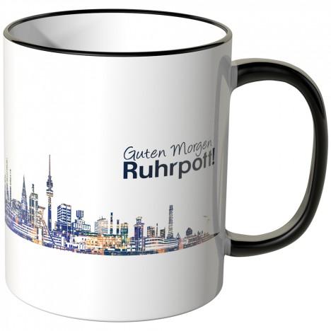 """JUNIWORDS Tasse """"Guten Morgen Ruhrpott!"""" Skyline bei Nacht"""