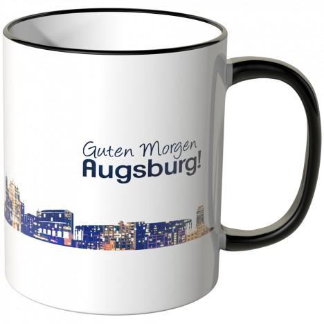 """JUNIWORDS Tasse """"Guten Morgen Augsburg!"""" Skyline bei Nacht"""