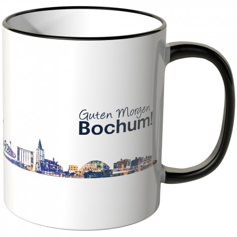 """JUNIWORDS Tasse """"Guten Morgen Bochum!"""" Skyline bei Nacht"""