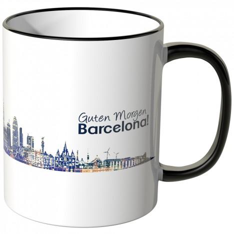 """JUNIWORDS Tasse """"Guten Morgen Barcelona!"""" Skyline bei Nacht"""