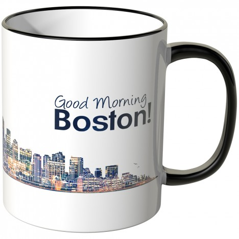 "JUNIWORDS Tasse ""Good Morning Boston!"" Skyline bei Nacht"