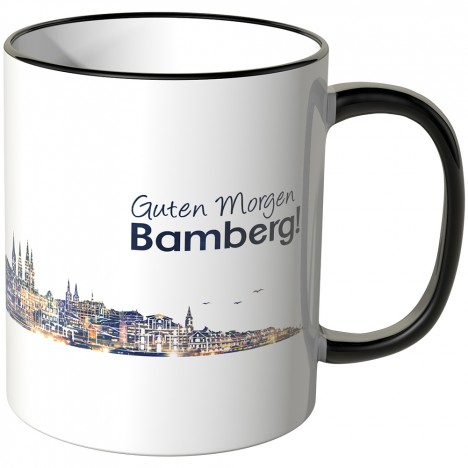 """JUNIWORDS Tasse """"Guten Morgen Bamberg!"""" Skyline bei Nacht"""