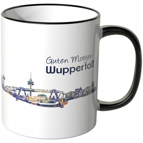 """JUNIWORDS Tasse """"Guten Morgen Wuppertal!"""" Skyline bei Nacht"""