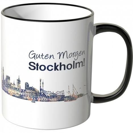 """JUNIWORDS Tasse """"Guten Morgen Stockholm!"""" Skyline bei Nacht"""