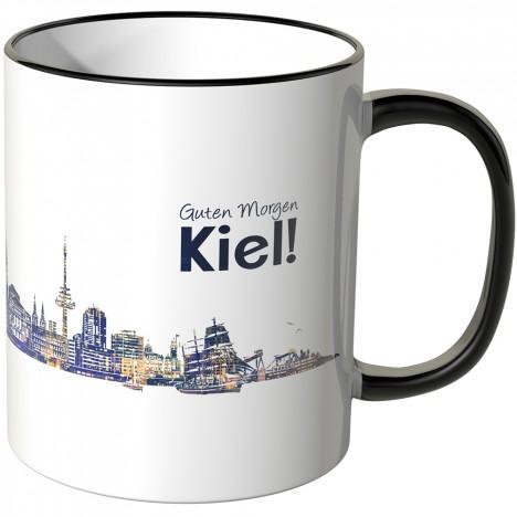 """JUNIWORDS Tasse """"Guten Morgen Kiel!"""" Skyline bei Nacht"""