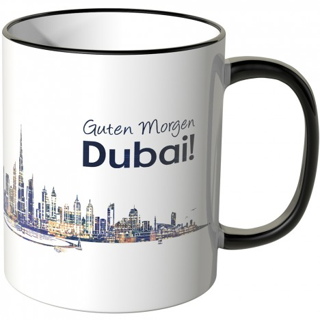 """JUNIWORDS Tasse """"Guten Morgen Dubai!"""" Skyline bei Nacht"""