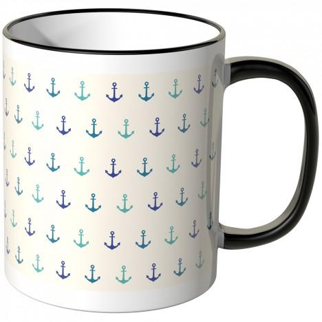 JUNIWORDS Tasse blaue Anker auf weißem Hintergrund