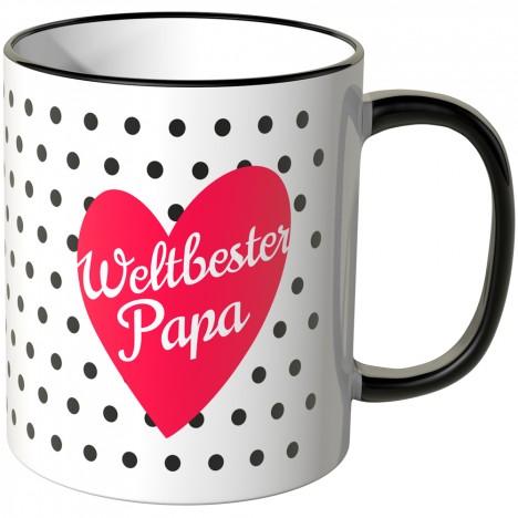 JUNIWORDS Tasse Weltbester Papa im Herz mit schwarzen Punkten