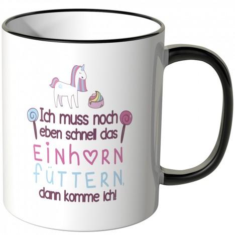 JUNIWORDS Tasse Ich muss noch eben schnell das Einhorn füttern.. - Motiv 5
