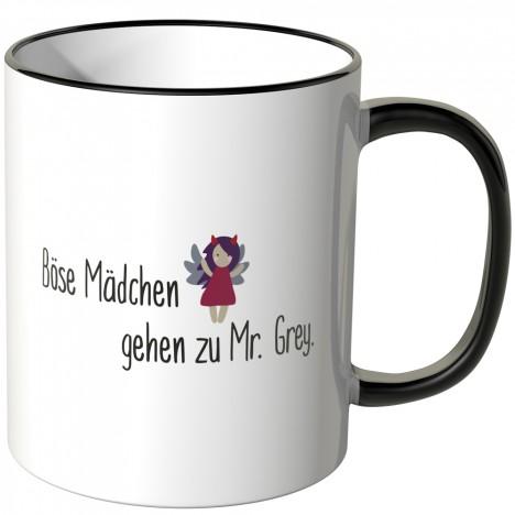 JUNIWORDS Tasse Brave Mädchen kommen in den Himmel, Böse Mädchen gehen zu Mr. Grey - Motiv 8