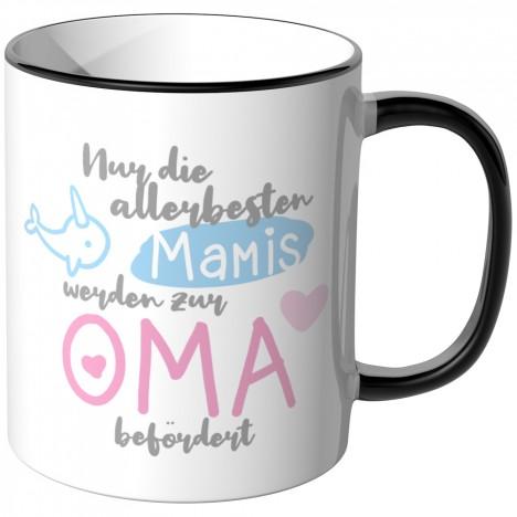 JUNIWORDS Tasse Nur die allerbesten Mamis werden zur Oma befördert - Motiv 6