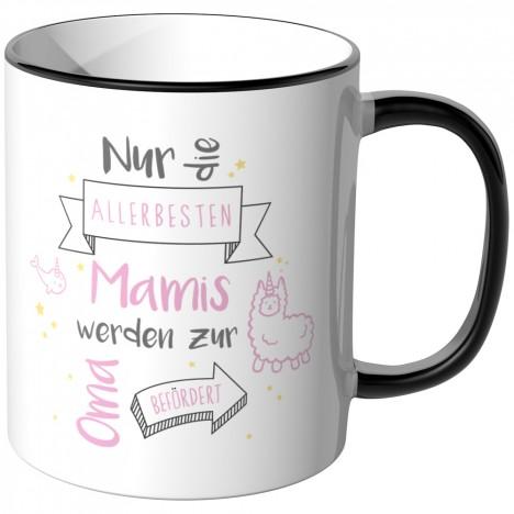 JUNIWORDS Tasse Nur die allerbesten Mamis werden zur Oma befördert - Motiv 18