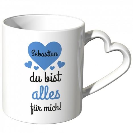 JUNIWORDS personalisierte Herz Tasse *Name* du bist alles für mich! - Blau