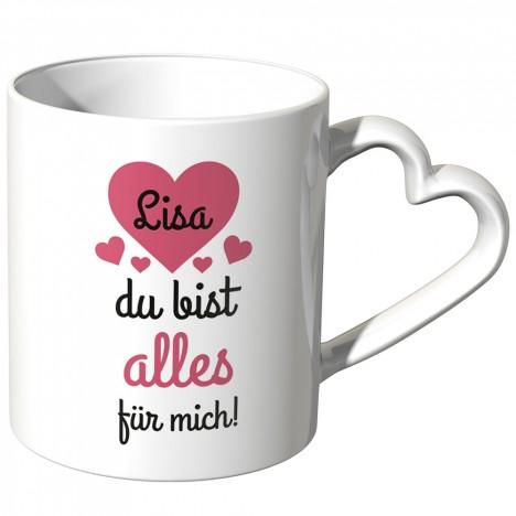 JUNIWORDS personalisierte Herz Tasse *Name* du bist alles für mich! - Rot