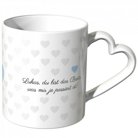 JUNIWORDS personalisierte Herz Tasse *Name* du bist das Beste, was mir je passiert ist! - Blau
