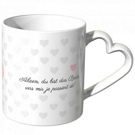JUNIWORDS personalisierte Herz Tasse *Name* du bist das Beste, was mir je passiert ist! - Rosa